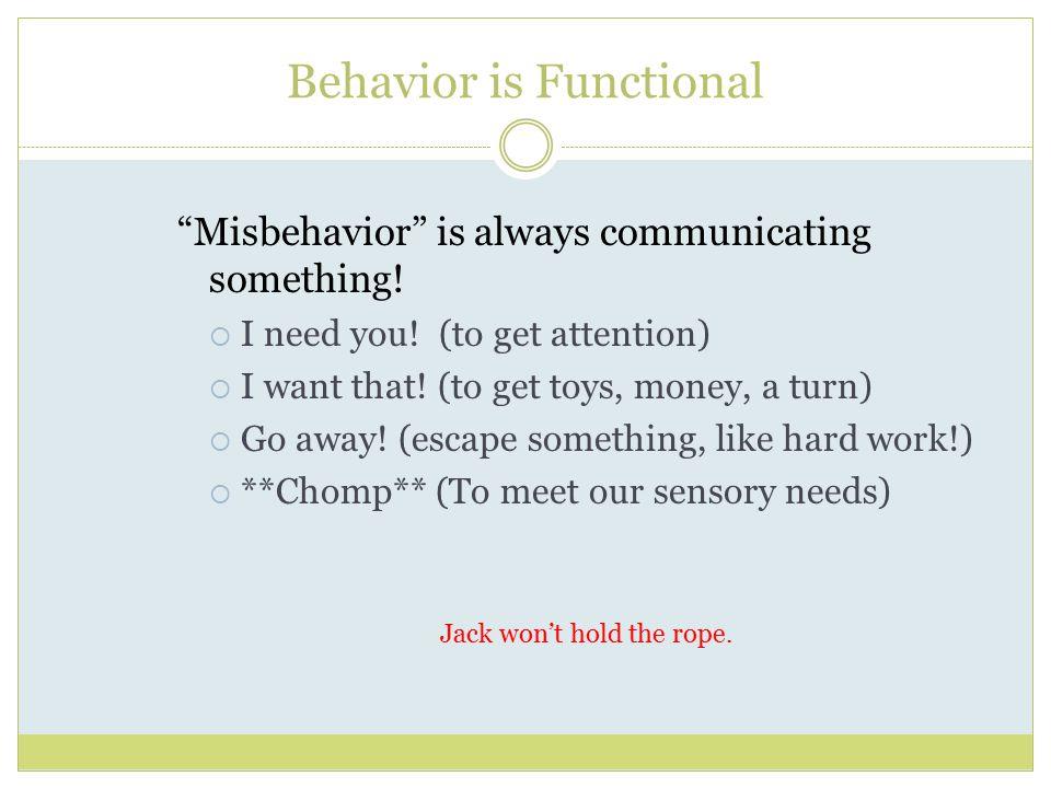 Behavior is Functional Misbehavior is always communicating something.