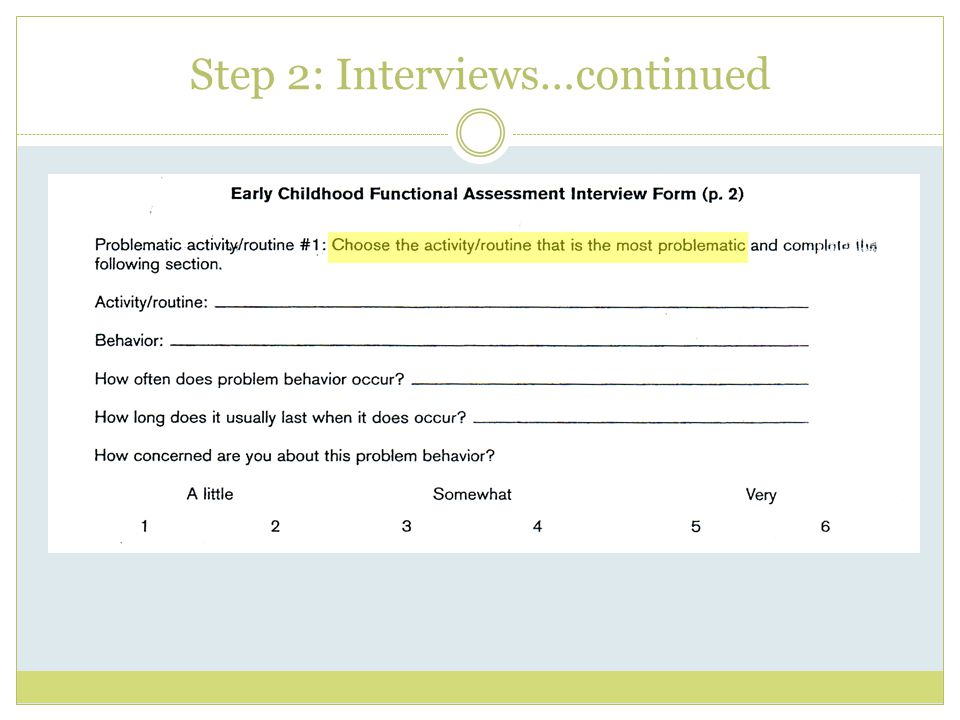 Step 2: Interviews…continued
