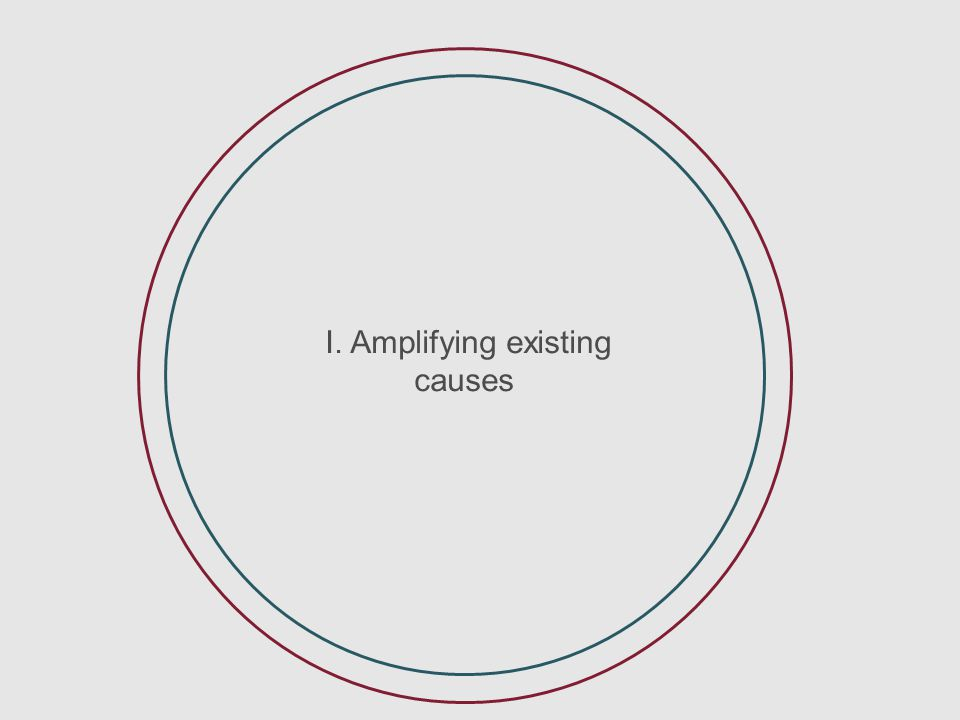 I. Amplifying existing issues I. Amplifying existing causes