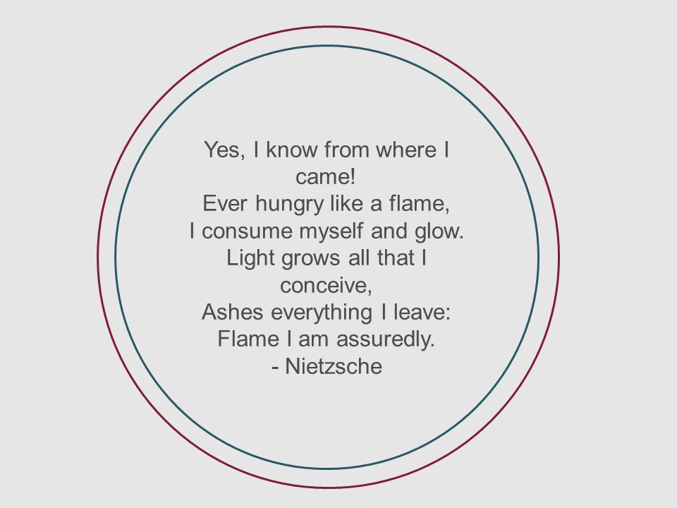 Yes, I know from where I came! Ever hungry like a flame, I consume myself and glow. Light grows all that I conceive, Ashes everything I leave: Flame I