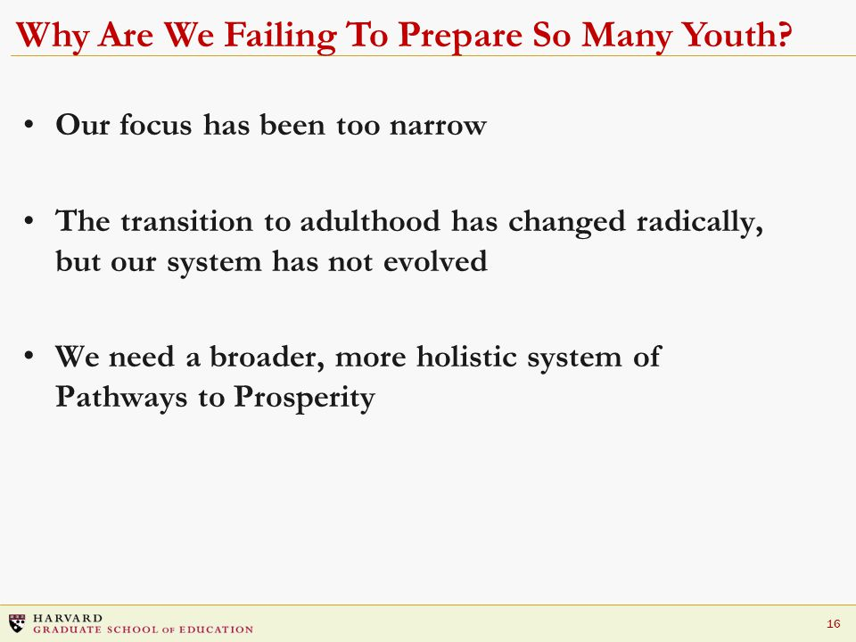 16 Why Are We Failing To Prepare So Many Youth.