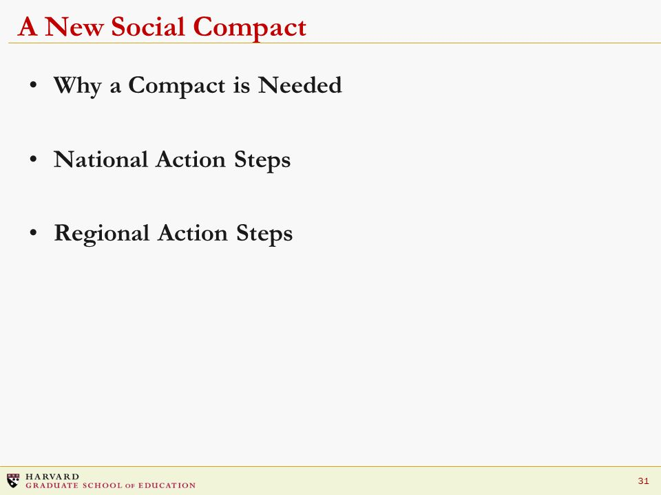 31 A New Social Compact Why a Compact is Needed National Action Steps Regional Action Steps
