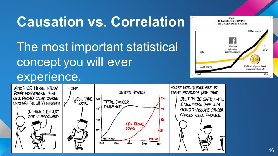 Causation vs. Correlation The most important statistical concept you will ever experience. 16
