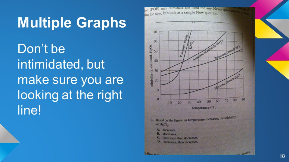 Multiple Graphs Don't be intimidated, but make sure you are looking at the right line! 18