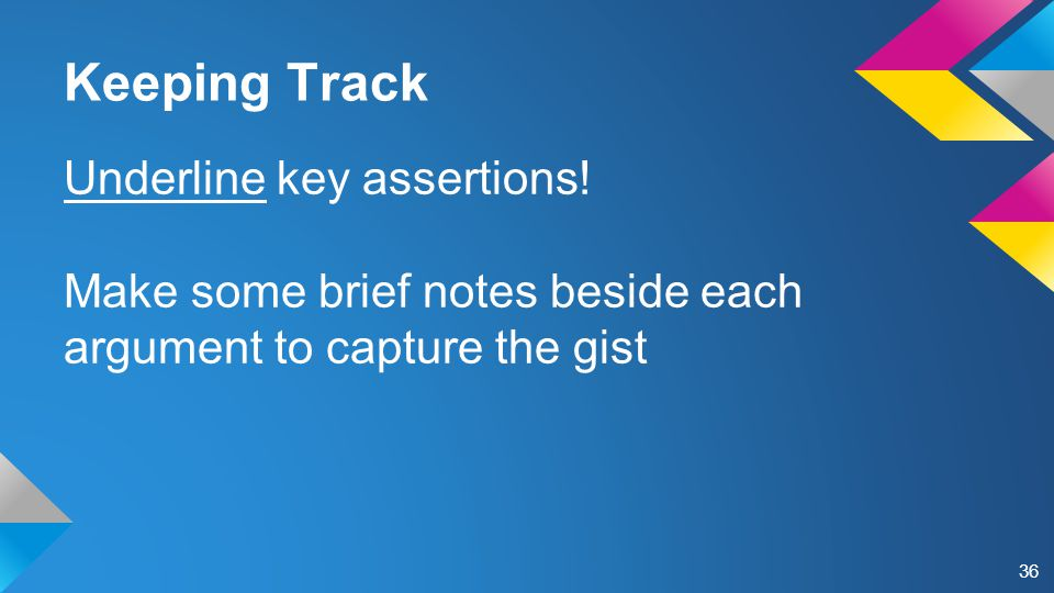 Keeping Track Underline key assertions.