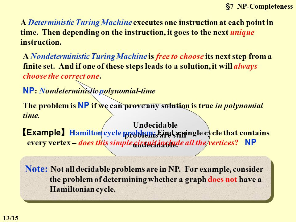 §7 NP-CompletenessTask To simulate any kind of computation which a mathematician can do by some arithmetical method (assuming that the mathematician h