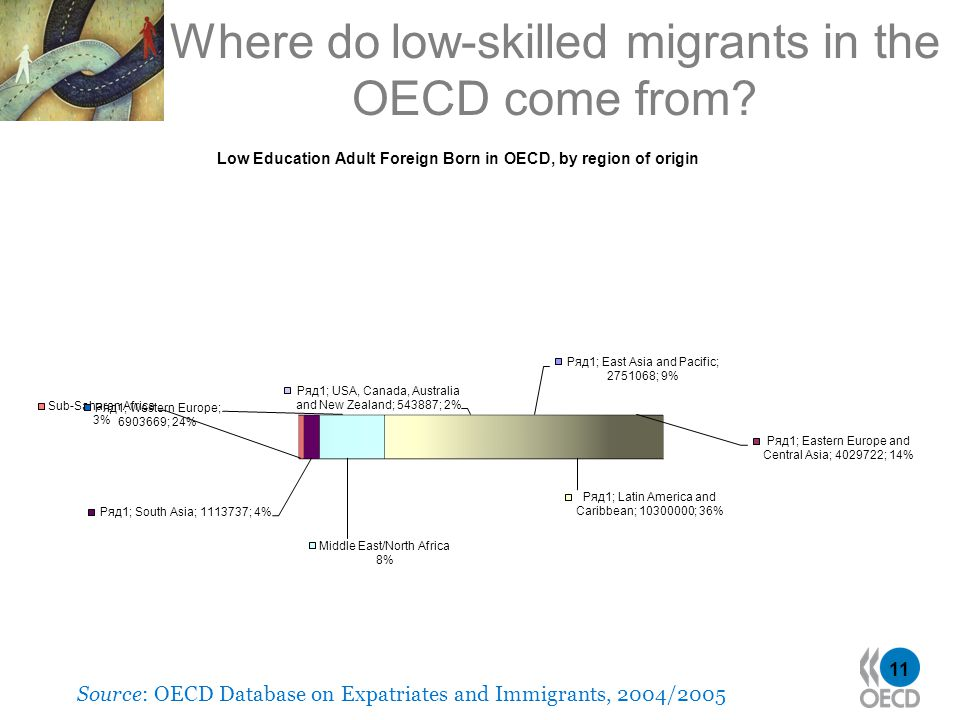 11 Where do low-skilled migrants in the OECD come from? Source: OECD Database on Expatriates and Immigrants, 2004/2005