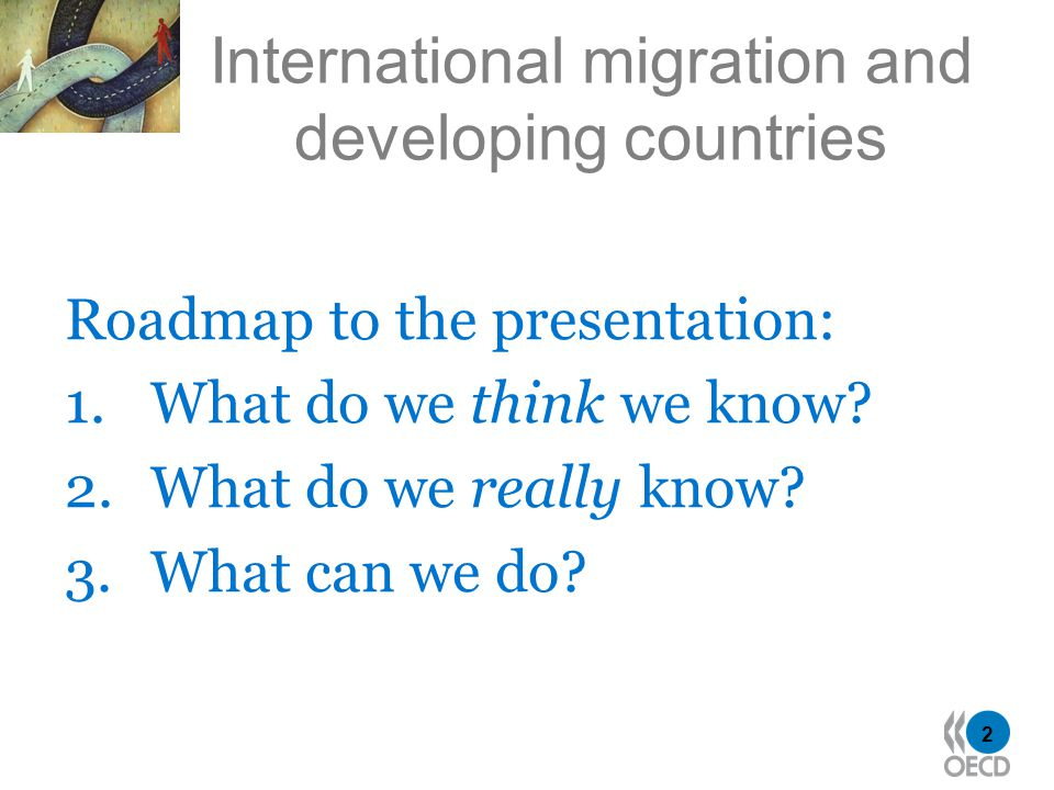 2 International migration and developing countries Roadmap to the presentation: 1.What do we think we know.