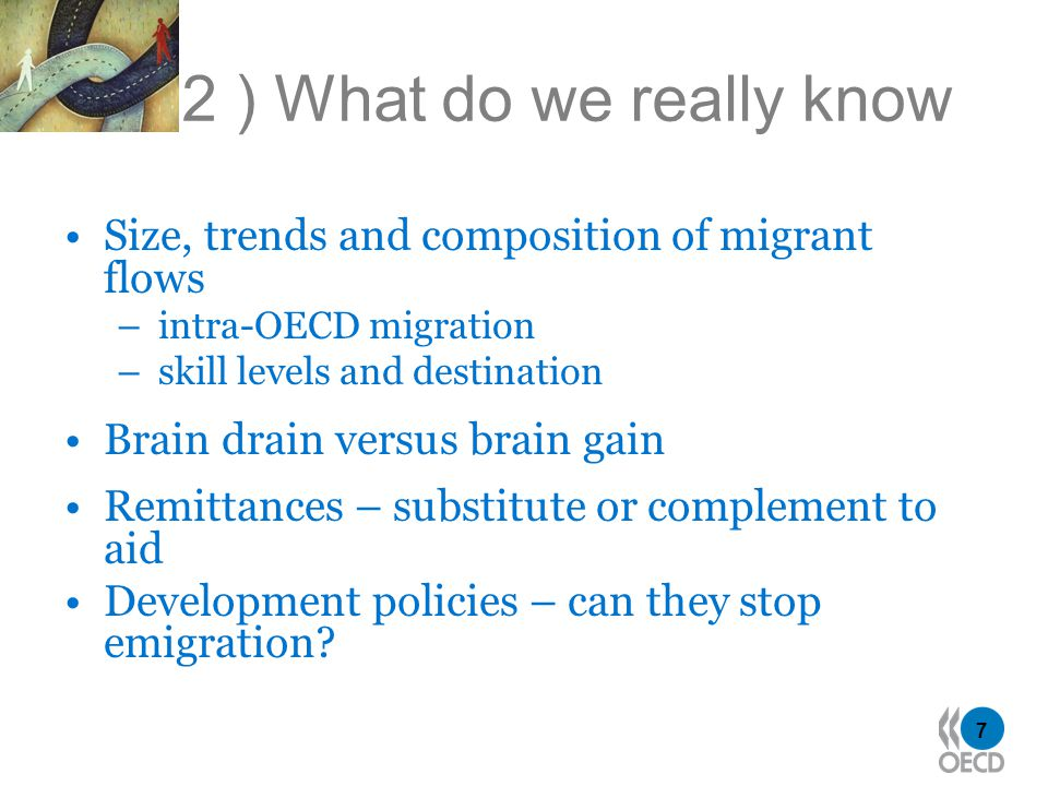 7 2 ) What do we really know Size, trends and composition of migrant flows – intra-OECD migration – skill levels and destination Brain drain versus br