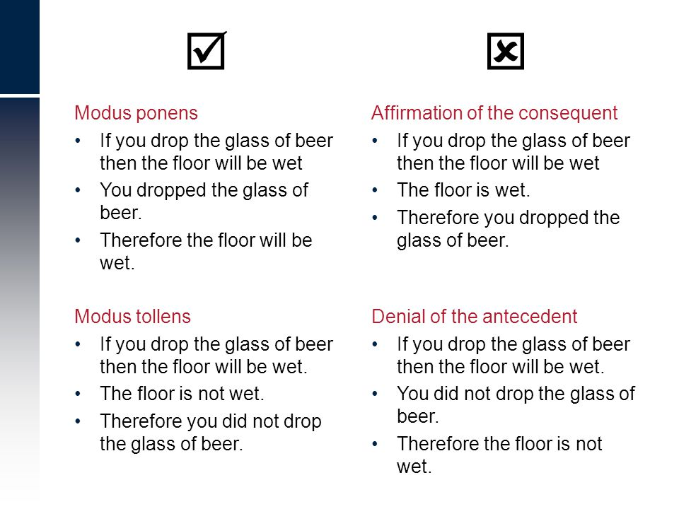 Affirmation of the consequent If you drop the glass of beer then the floor will be wet The floor is wet. Therefore you dropped the glass of beer. Deni