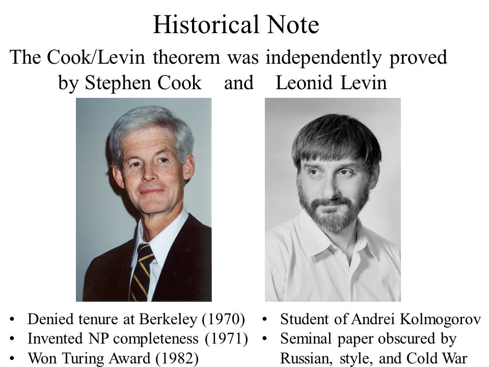 Historical Note The Cook/Levin theorem was independently proved by Stephen Cook and Leonid Levin Denied tenure at Berkeley (1970) Invented NP completeness (1971) Won Turing Award (1982) Student of Andrei Kolmogorov Seminal paper obscured by Russian, style, and Cold War