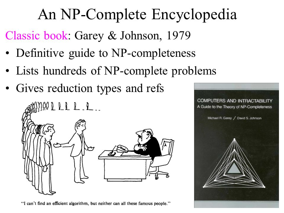 An NP-Complete Encyclopedia Classic book: Garey & Johnson, 1979 Definitive guide to NP-completeness Lists hundreds of NP-complete problems Gives reduction types and refs