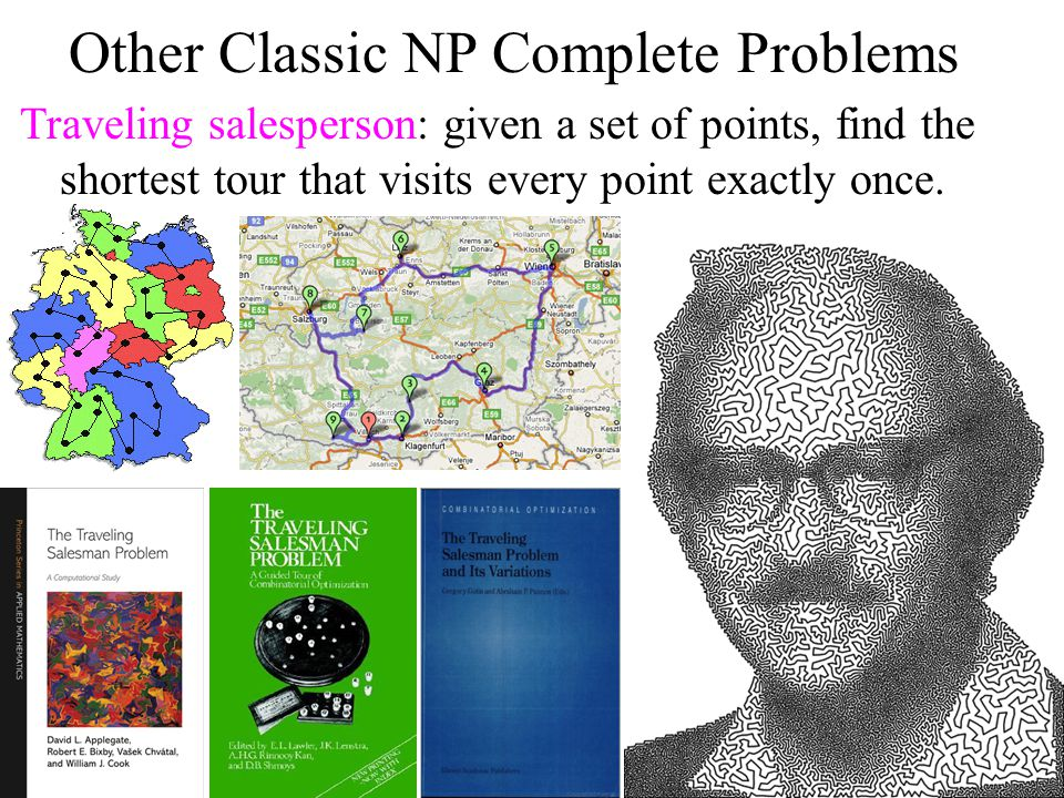 Other Classic NP Complete Problems Traveling salesperson: given a set of points, find the shortest tour that visits every point exactly once.