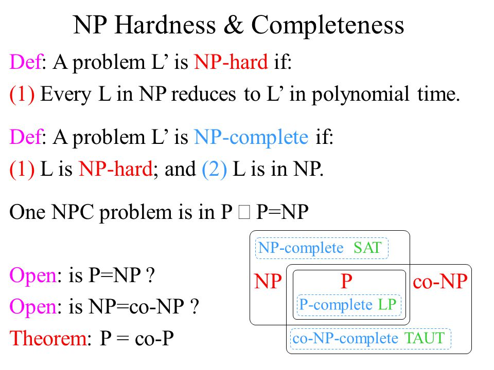 NP Hardness & Completeness Def: A problem L' is NP-hard if: (1) Every L in NP reduces to L' in polynomial time.