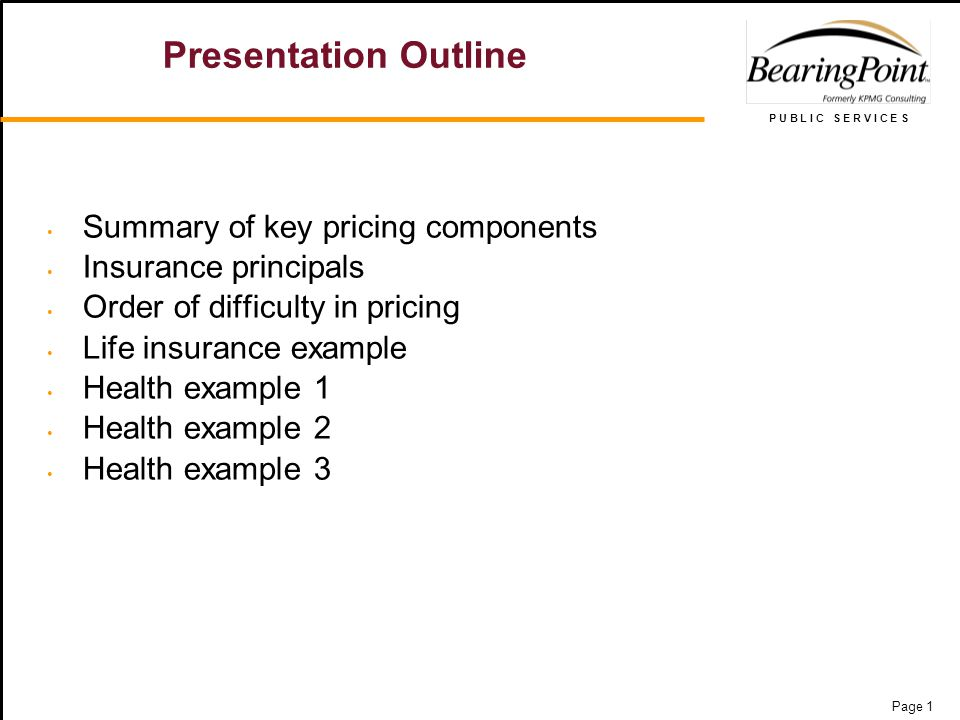 P U B L I C S E R V I C E S Page 1 Presentation Outline Summary of key pricing components Insurance principals Order of difficulty in pricing Life insurance example Health example 1 Health example 2 Health example 3
