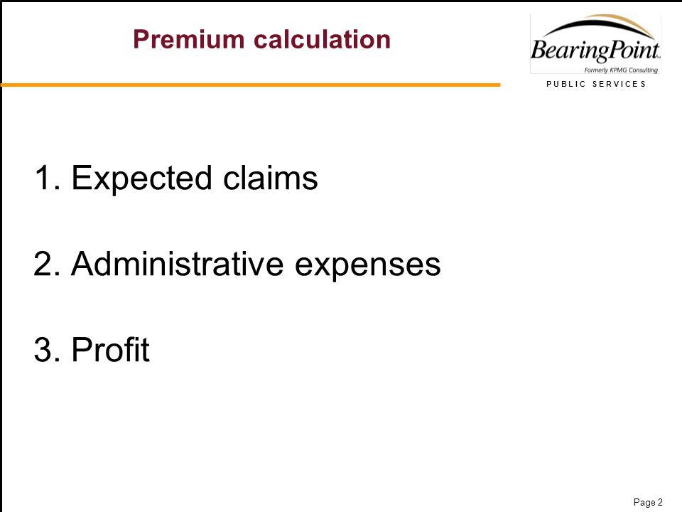 P U B L I C S E R V I C E S Page 2 Premium calculation 1.