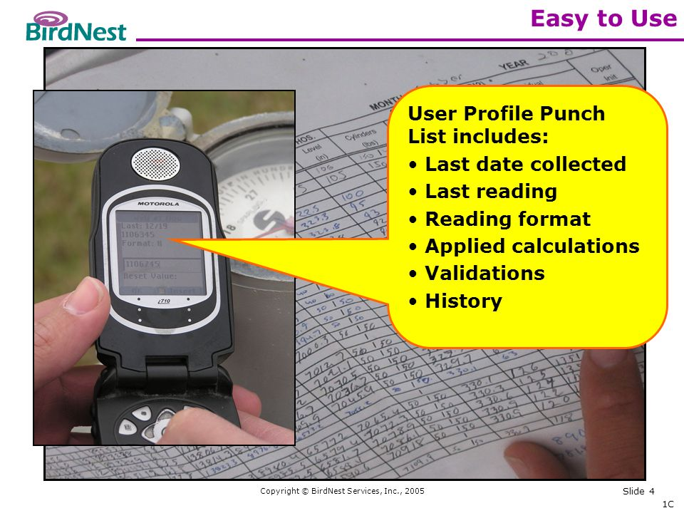 Copyright © BirdNest Services, Inc., 2005 Slide 4 Easy to Use 1C User Profile Punch List includes: Last date collected Last reading Reading format Applied calculations Validations History