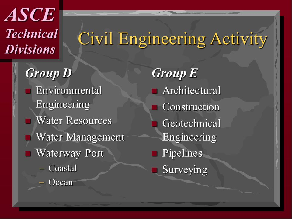 Civil Engineering Activity Group D n Environmental Engineering n Water Resources n Water Management n Waterway Port –Coastal –Ocean Group E n Architectural n Construction n Geotechnical Engineering n Pipelines n Surveying ASCETechnicalDivisions