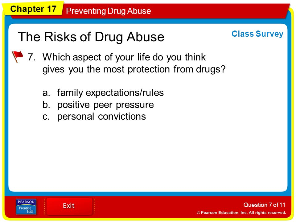 Chapter 17 Preventing Drug Abuse The Risks of Drug Abuse 7.Which aspect of your life do you think gives you the most protection from drugs.