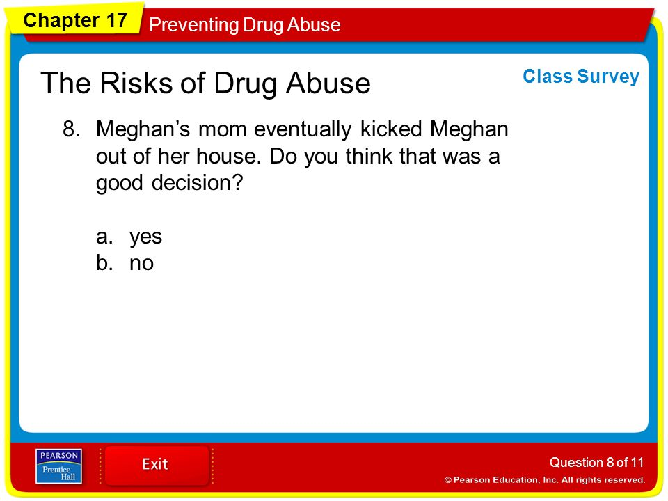 Chapter 17 Preventing Drug Abuse The Risks of Drug Abuse 8.Meghan's mom eventually kicked Meghan out of her house.