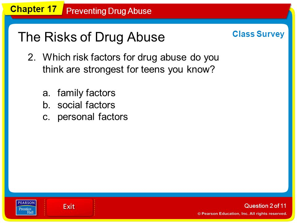 Chapter 17 Preventing Drug Abuse The Risks of Drug Abuse 2.Which risk factors for drug abuse do you think are strongest for teens you know.