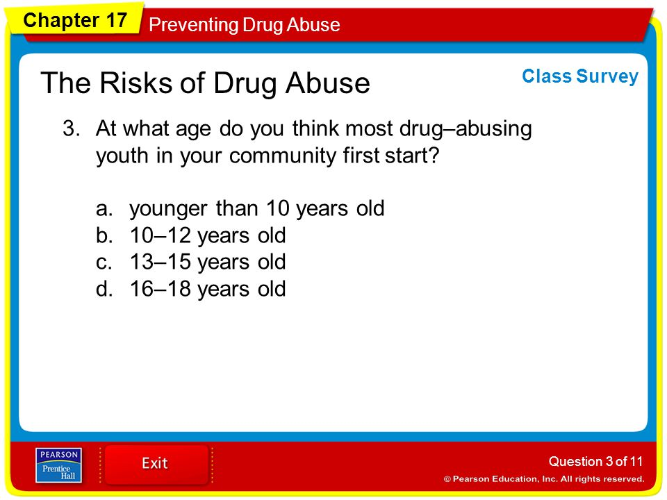 Chapter 17 Preventing Drug Abuse The Risks of Drug Abuse 3.At what age do you think most drug–abusing youth in your community first start.