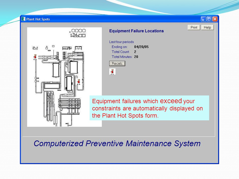 Equipment failures which exceed your constraints are automatically displayed on the Plant Hot Spots form.
