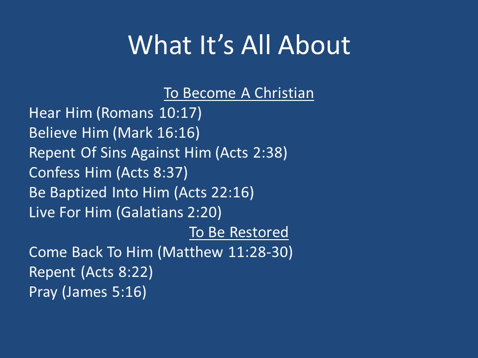 What It's All About To Become A Christian Hear Him (Romans 10:17) Believe Him (Mark 16:16) Repent Of Sins Against Him (Acts 2:38) Confess Him (Acts 8:37) Be Baptized Into Him (Acts 22:16) Live For Him (Galatians 2:20) To Be Restored Come Back To Him (Matthew 11:28-30) Repent (Acts 8:22) Pray (James 5:16)