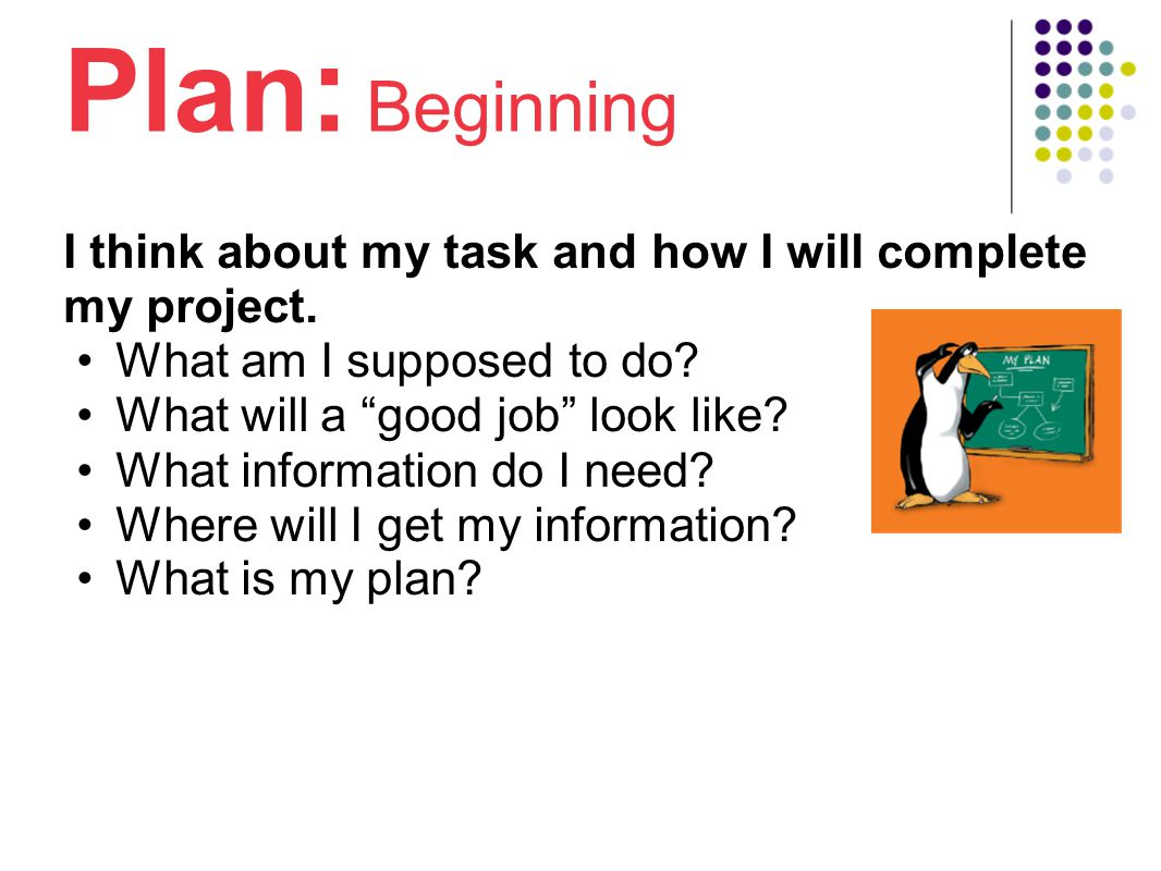 Plan : Beginning I think about my task and how I will complete my project.