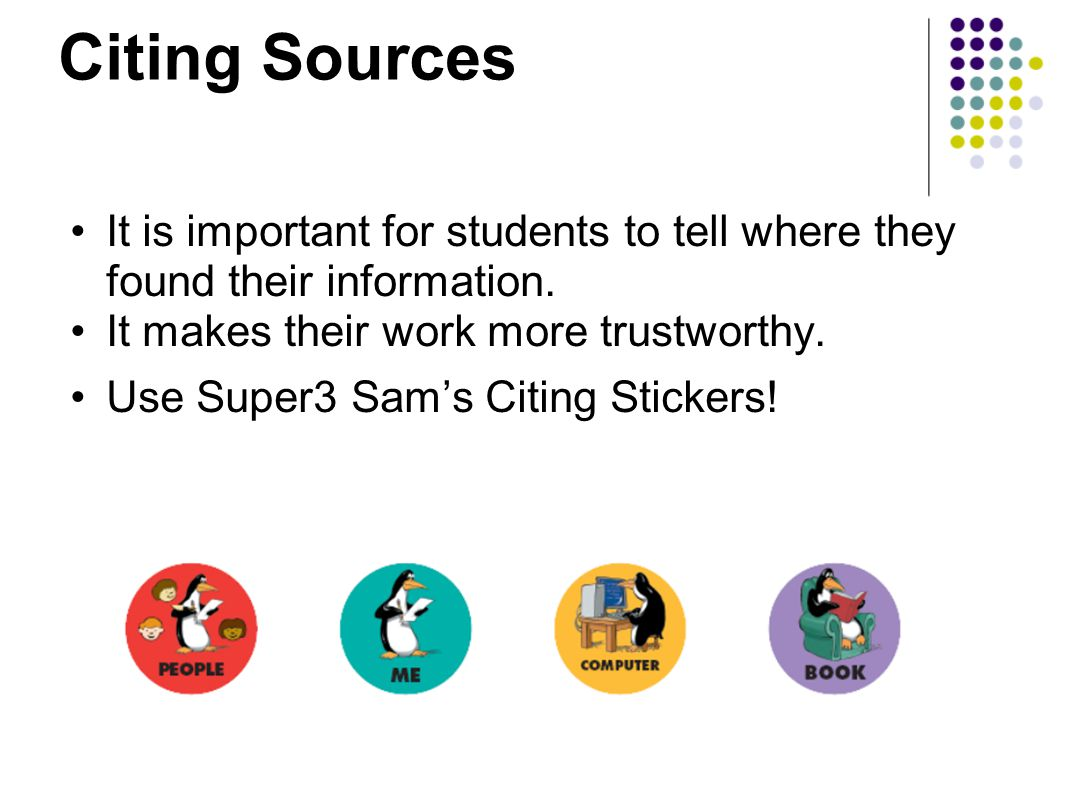 Citing Sources It is important for students to tell where they found their information.