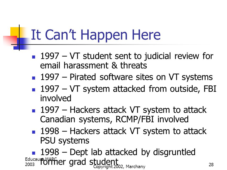 Educause MARC, 2003 Copyright 2002, Marchany 28 It Can't Happen Here 1997 – VT student sent to judicial review for email harassment & threats 1997 – Pirated software sites on VT systems 1997 – VT system attacked from outside, FBI involved 1997 – Hackers attack VT system to attack Canadian systems, RCMP/FBI involved 1998 – Hackers attack VT system to attack PSU systems 1998 – Dept lab attacked by disgruntled former grad student