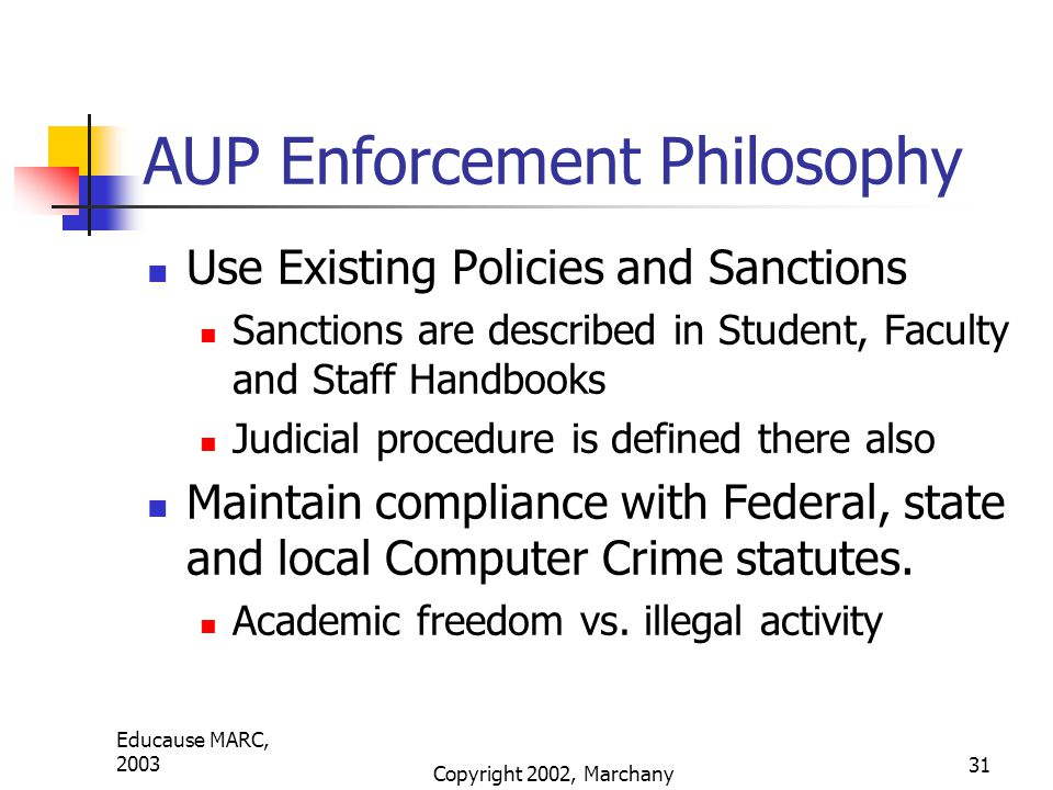 Educause MARC, 2003 Copyright 2002, Marchany 31 AUP Enforcement Philosophy Use Existing Policies and Sanctions Sanctions are described in Student, Faculty and Staff Handbooks Judicial procedure is defined there also Maintain compliance with Federal, state and local Computer Crime statutes.