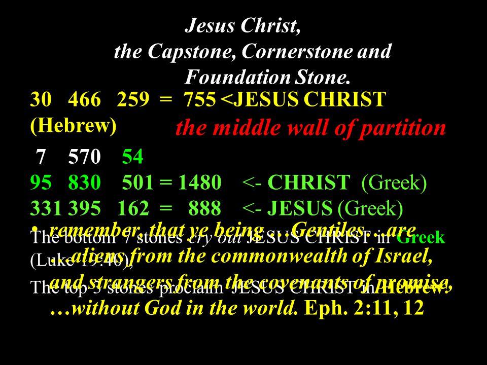 Jesus Christ, the Capstone, Cornerstone and Foundation Stone. 30 466 259 = 755 <JESUS CHRIST (Hebrew) 7 570 54 95 830 501 = 1480 <- CHRIST (Greek) 331