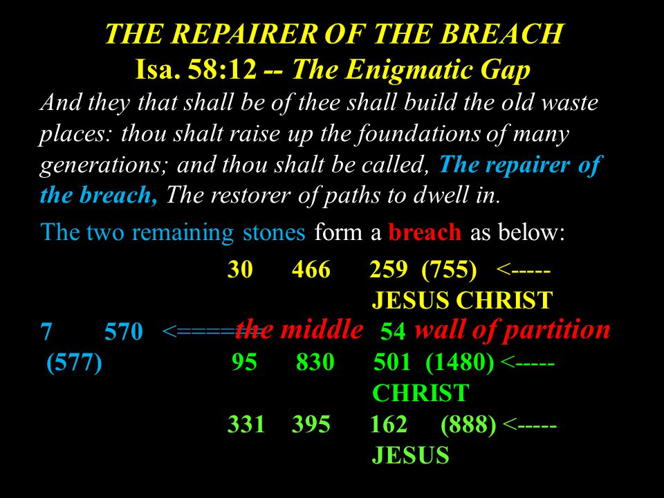 THE REPAIRER OF THE BREACH Isa.