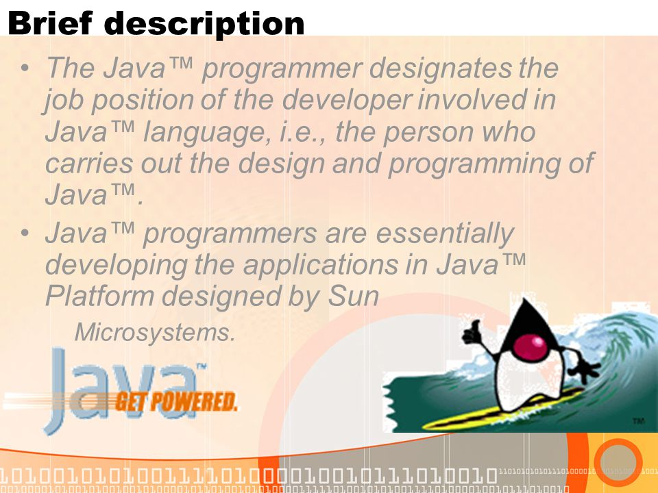 The Java™ programmer designates the job position of the developer involved in Java™ language, i.e., the person who carries out the design and programm