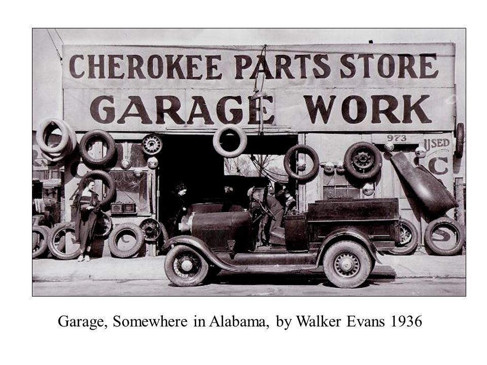 Garage, Somewhere in Alabama, by Walker Evans 1936