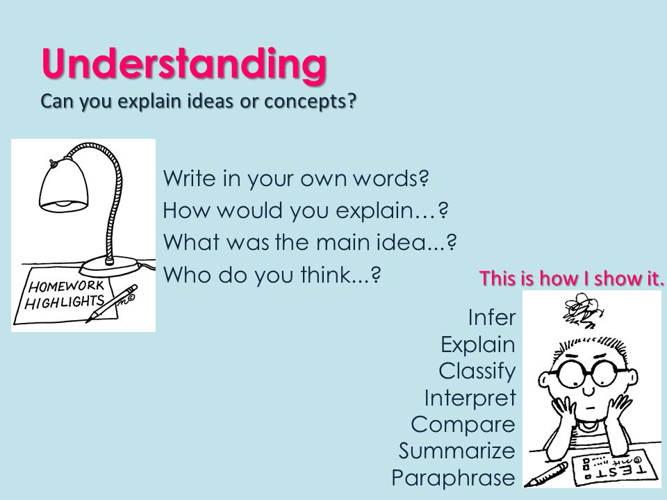 Understanding Write in your own words. How would you explain….