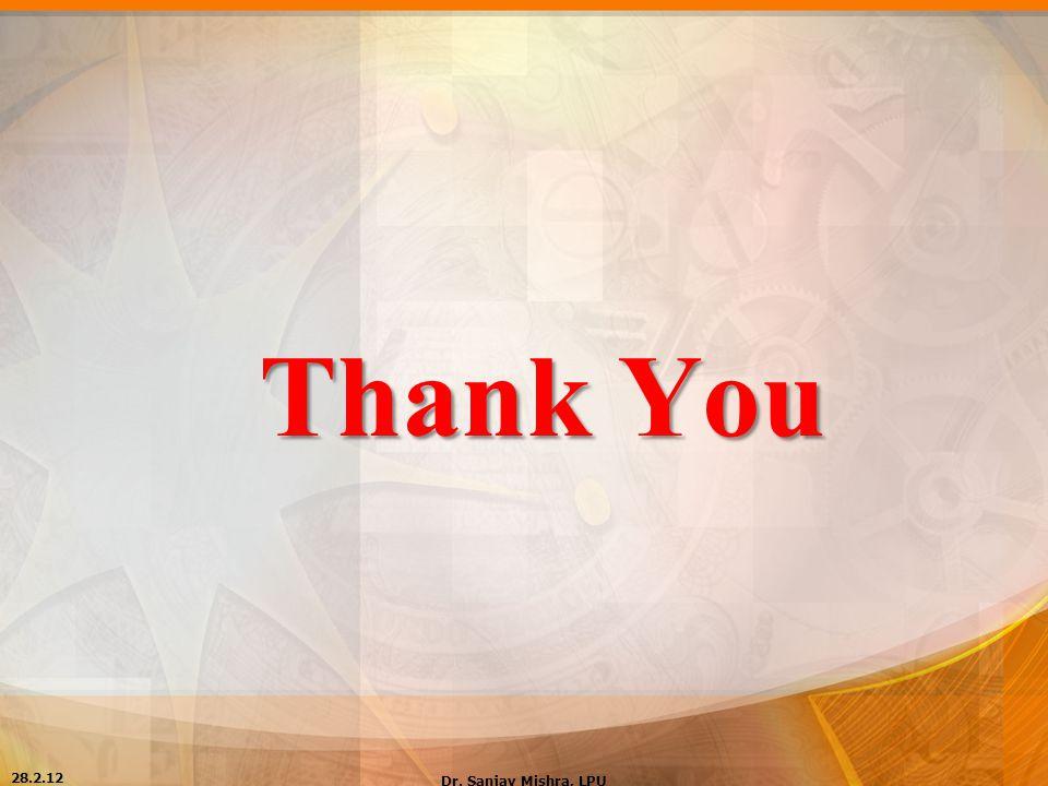 Thank You 28.2.12 Dr. Sanjay Mishra, LPU
