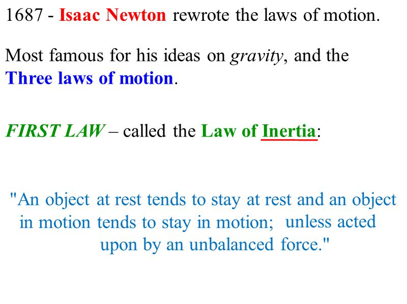 1687 - Isaac Newton rewrote the laws of motion.