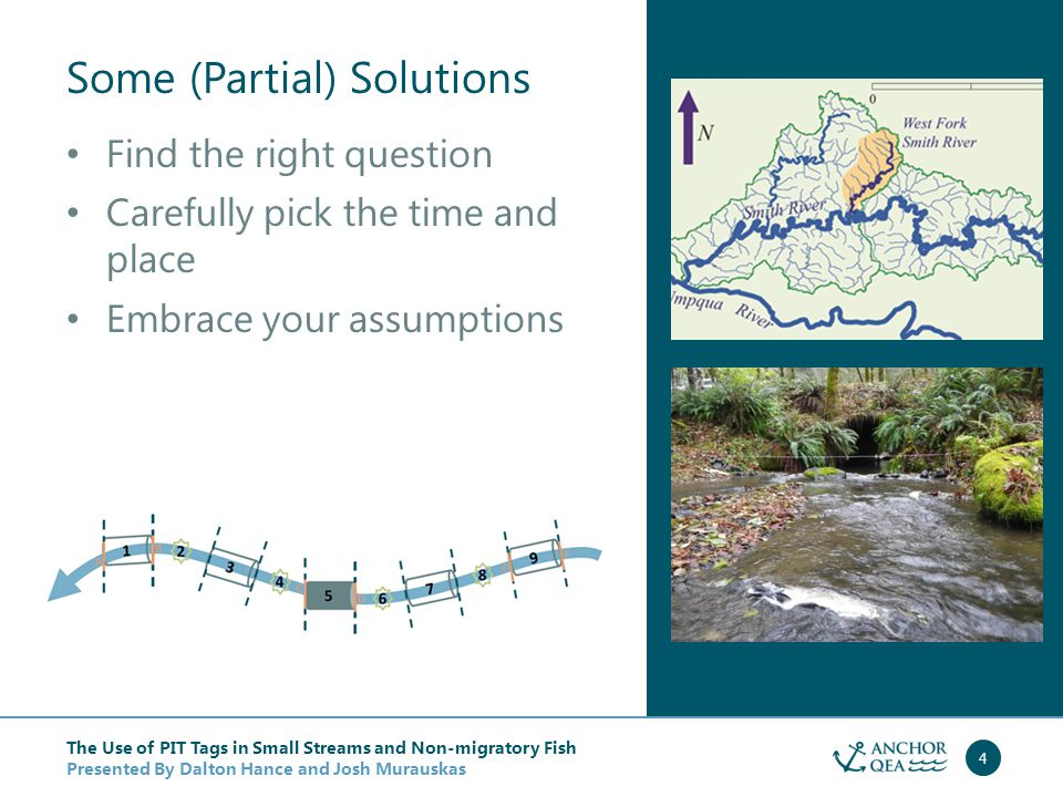 The Use of PIT Tags in Small Streams and Non-migratory Fish Presented By Dalton Hance and Josh Murauskas 5 West Fork Smith River, Oregon Case Study 1 Dalton Hance, Anchor QEA Lisa Ganio, Oregon State University Kelly Burnett, U.S.