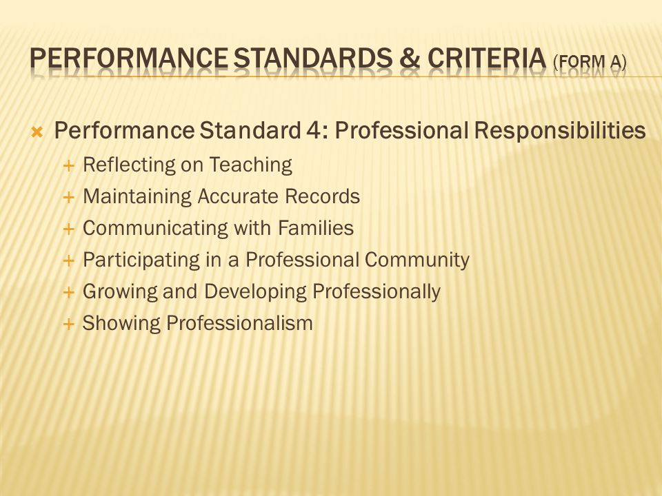  Performance Standard 4: Professional Responsibilities  Reflecting on Teaching  Maintaining Accurate Records  Communicating with Families  Participating in a Professional Community  Growing and Developing Professionally  Showing Professionalism