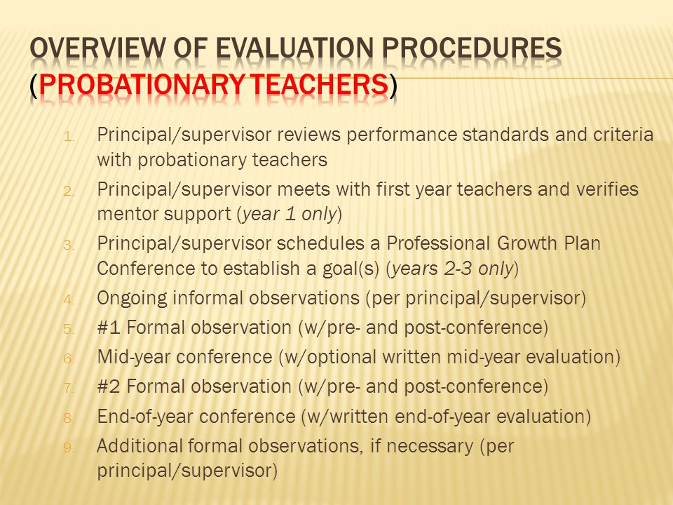 1.Principal/supervisor reviews performance standards and criteria with probationary teachers 2.
