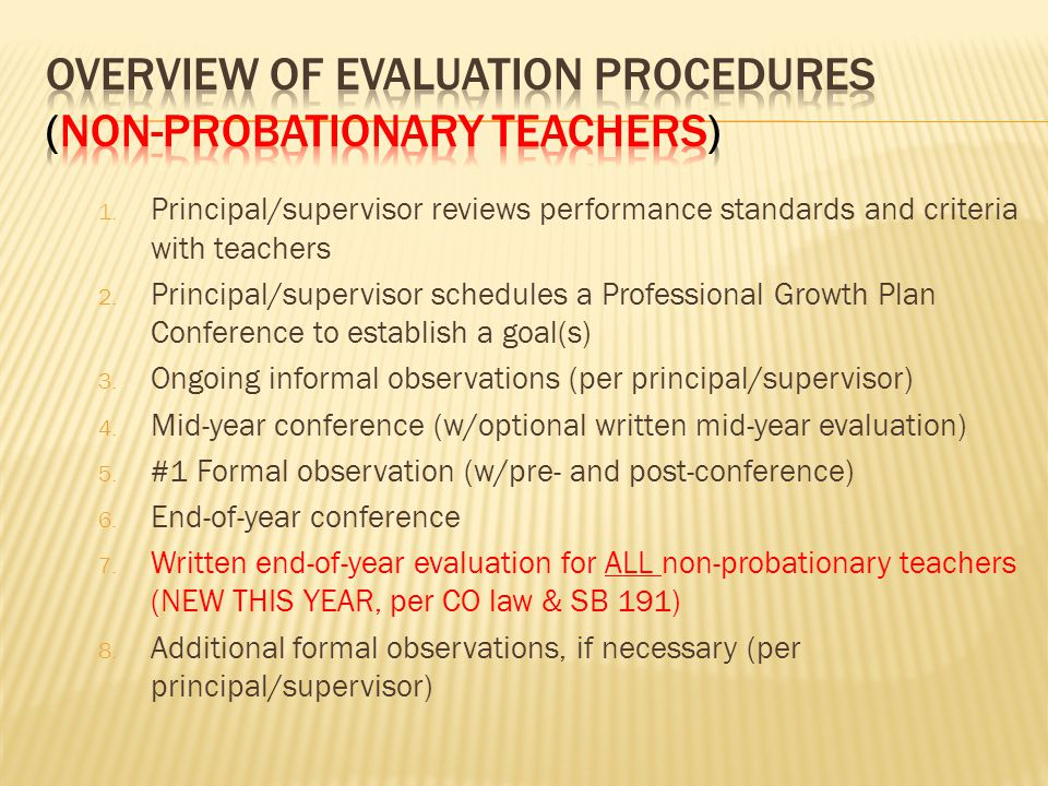 1.Principal/supervisor reviews performance standards and criteria with teachers 2.