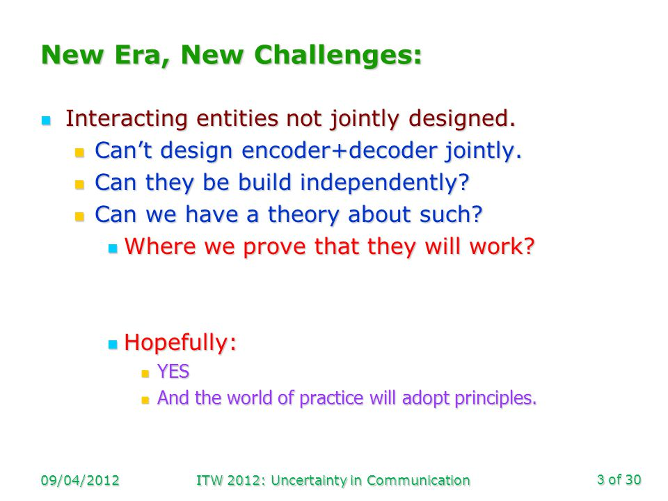 of 30 Example 1 09/04/2012ITW 2012: Uncertainty in Communication4