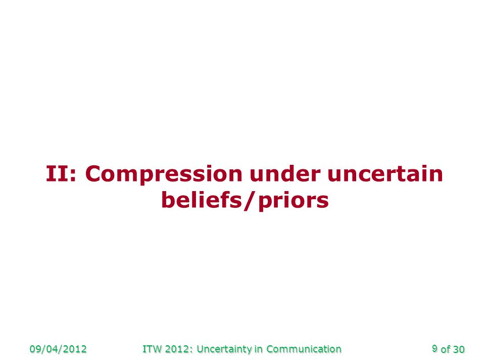 of 30 Implications 09/04/2012ITW 2012: Uncertainty in Communication20