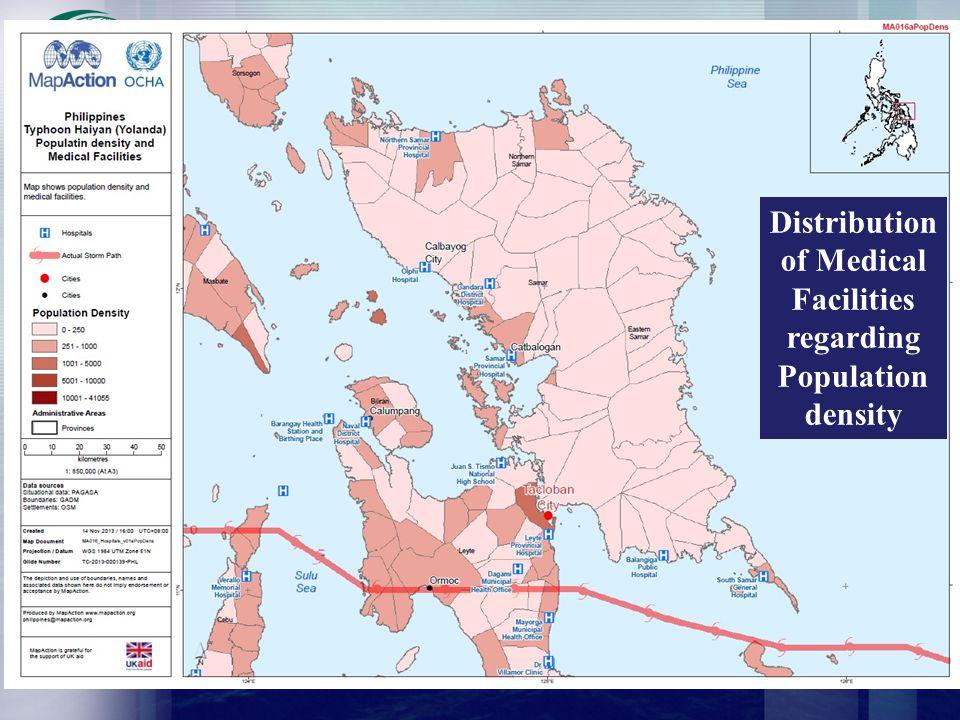 Distribution of Medical Facilities regarding Population density