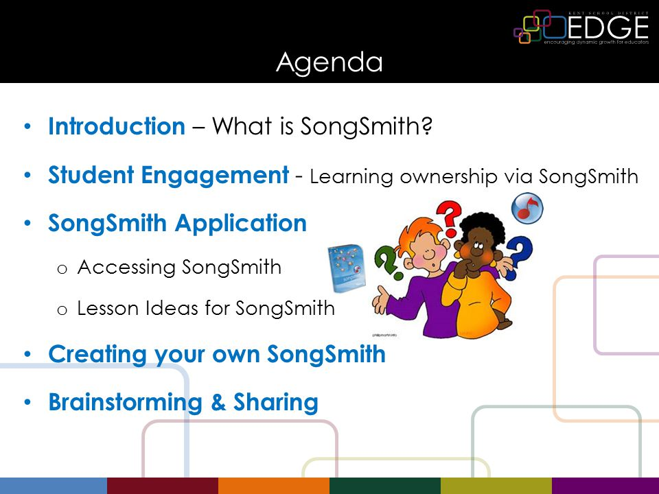 SongSmith ~ Lesson Ideas Learning Goals to help with Lyrics Self Evaluation Guide to help keep work on track Final Song Check ~Group Rubric Here are some examples of how I use SongSmith in class A Final Song Check is the final checklist of requirements.