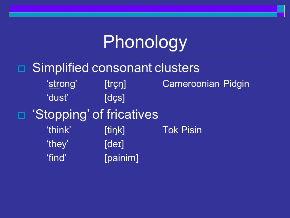 Lexicon  Small lexicon, meanings extended [stik]  'stick', 'tree' [gras]  'grass', 'hair' (i.e., gras bilong head)  Use of compounds to form new w