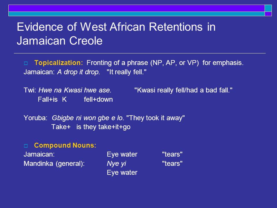 Hawaiian Creole (super: Eng.) Sranan (super: Eng.) Haitian Creole (super: French) 'he walked/s'He walkA wakaLi maché 'he had walked'He bin walkA ben wakaLi té maché 'he would/will walk' He go walkA sa wakaL'av maché 'he is/was walking' He stay walkA e wakaL'ap maché 'he would have walked' He bin go walkA ben sa wakaLi t'av maché 'he has/had been walking' He bin stay walk A ben e wakaLi t'ap maché 'he will/would be walking' He go stay walkA sa e wakaL'av ap maché 'he would have been walking' He bin go stay walk A ben sa e waka Li t'av ap maché Tense in other Creoles