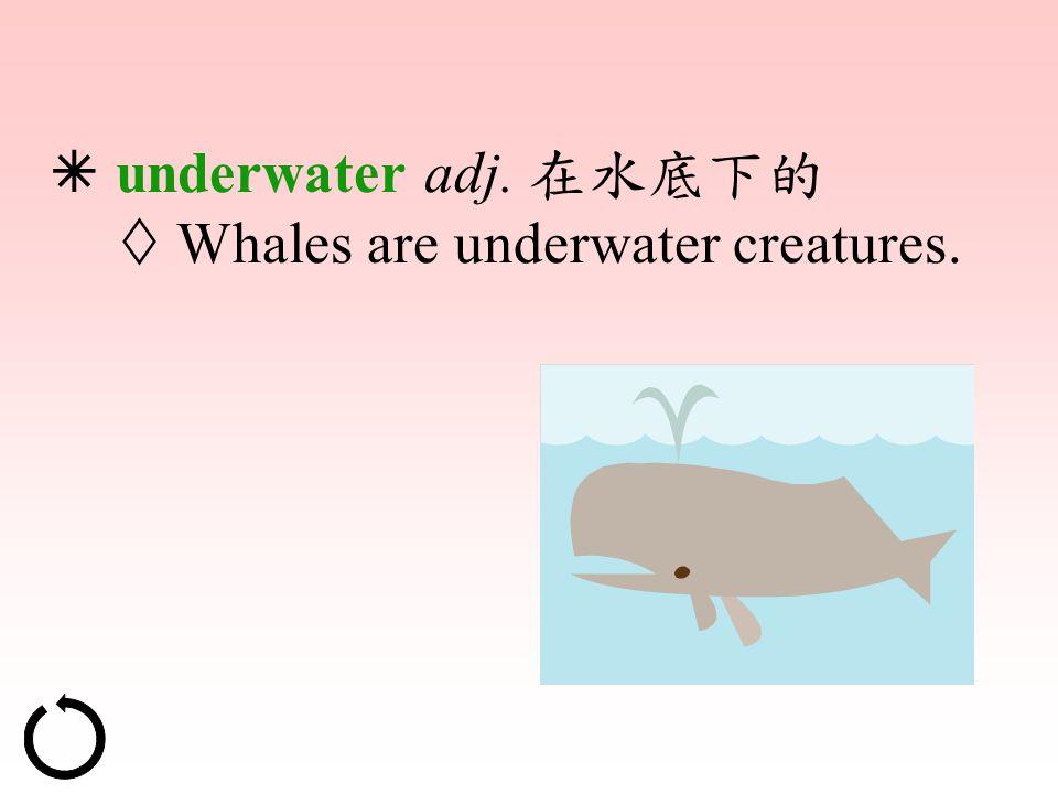  underwater adj. 在水底下的  Whales are underwater creatures.